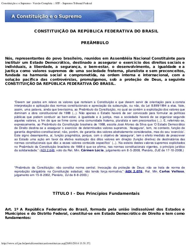 Constituição e o Supremo - Versão Completa :: STF - Supremo Tribunal Federal http://www.stf.jus.br/portal/constituicao/con...