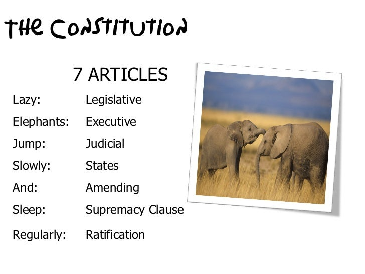 The Constitution             7 ARTICLESLazy:         LegislativeElephants:    ExecutiveJump:         JudicialSlowly:      ...