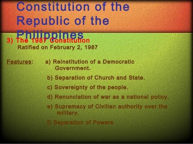 1987 constitution of the republic of the philippines bill of rights essay Constitution of the philippines (1987) poland new constitution of the government of poland, established by the revolution, the third of may, 1791.