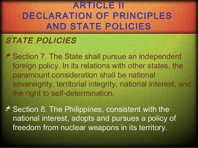 declaration of principles and state policies article ii section 13 View test prep - article ii from consti 1 at university of the philippines diliman 1 article ii declaration of principles and state policies section 1 the.