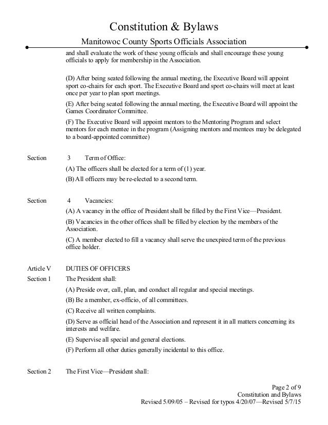 MCSOA Constitution bylaws updated 5-15