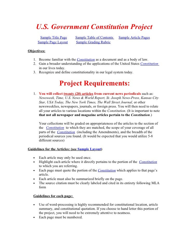 U.S. Government Constitution Project         Sample Title Page        Sample Table of Contents       Sample Article Pages ...