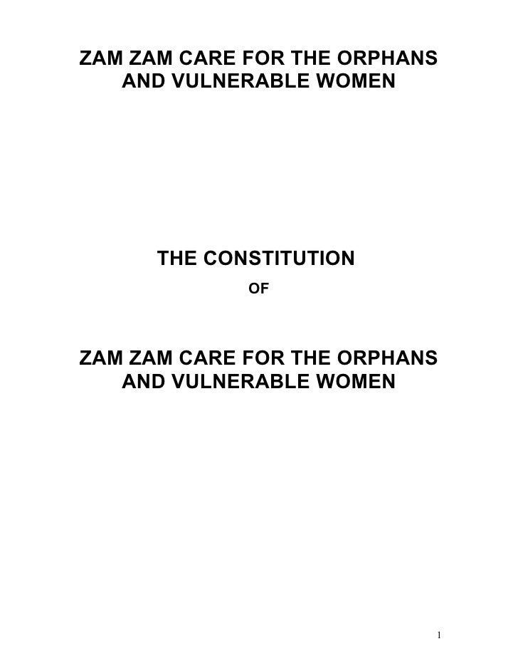 ZAM ZAM CARE FOR THE ORPHANS   AND VULNERABLE WOMEN      THE CONSTITUTION             OFZAM ZAM CARE FOR THE ORPHANS   AND...