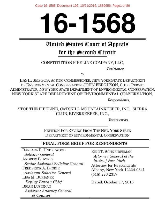 Respondents Brief: Constitution Pipeline v New York State DEC