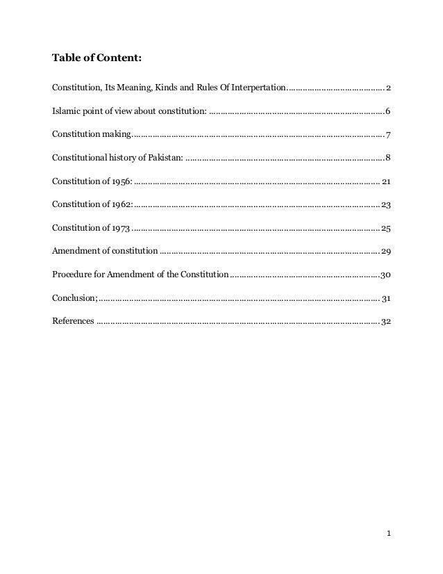 Table of Content:Constitution, Its Meaning, Kinds and Rules Of Interpertation.......................................... 2I...