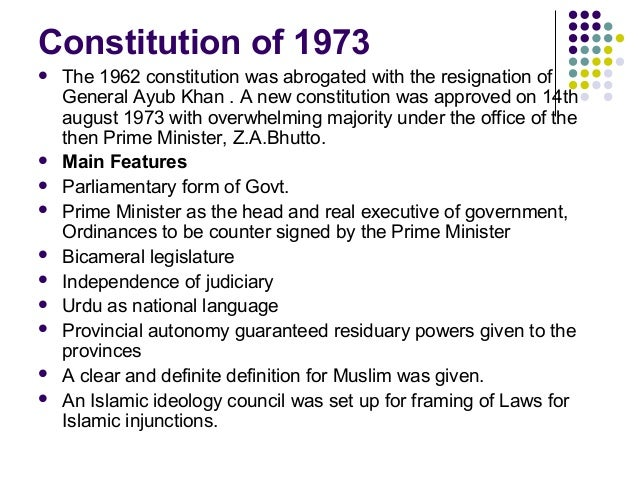 1973 constitution This article is about the 1973 constitution of pakistan.