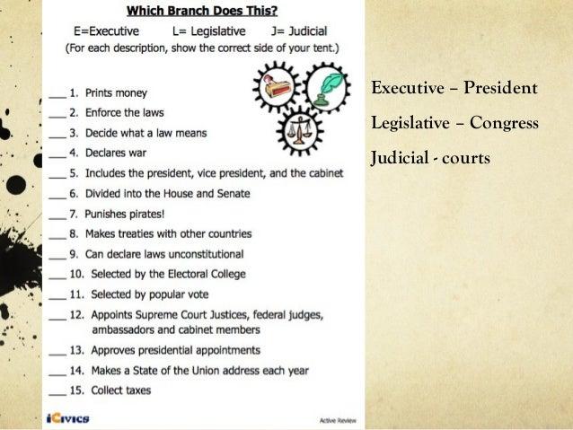 Executive – PresidentLegislative – CongressJudicial - courts