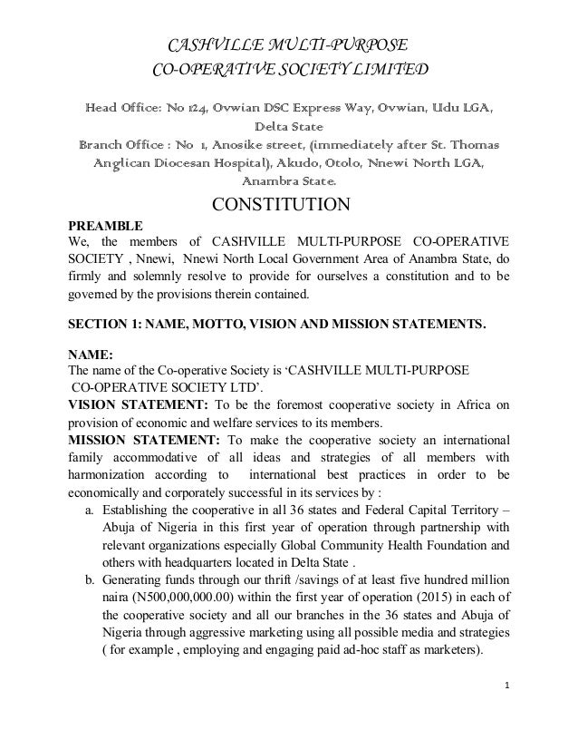 constitution and bylaws template - constitution of cashville multi purpose cooperative