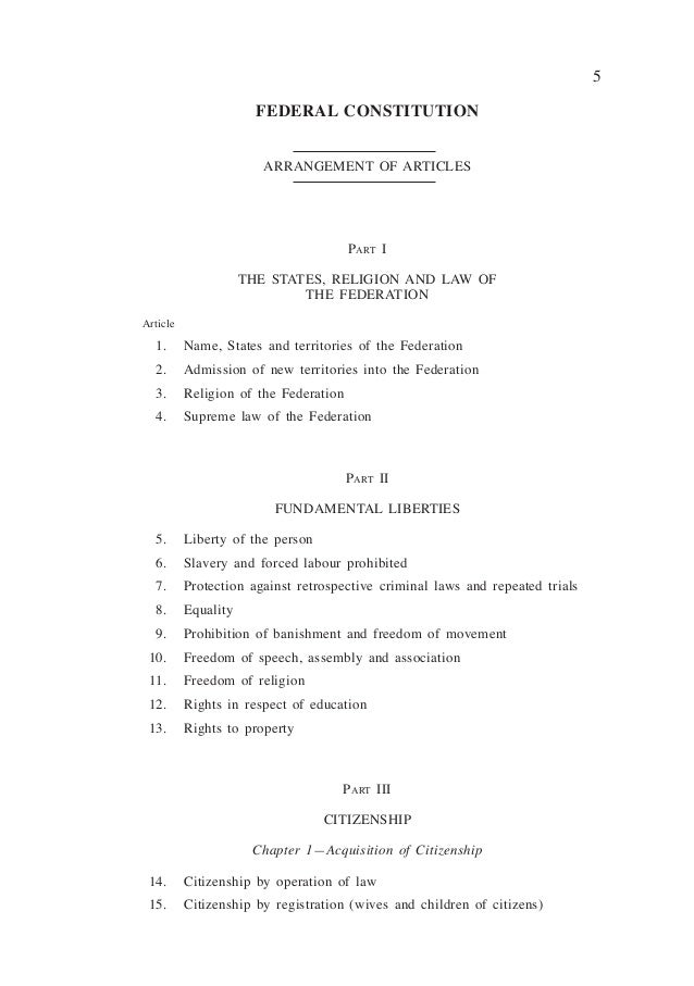Full Text Of The Constitution Of Malaysia 2010 Reprint