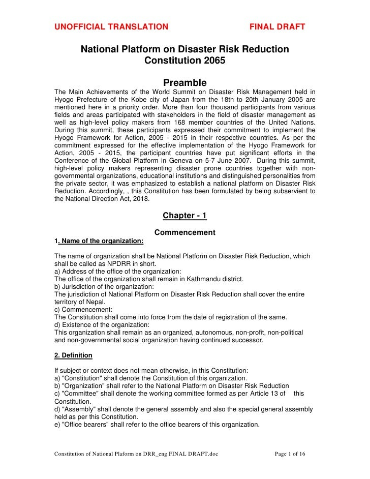 Constitution of national plaform on drr nepal2008 english