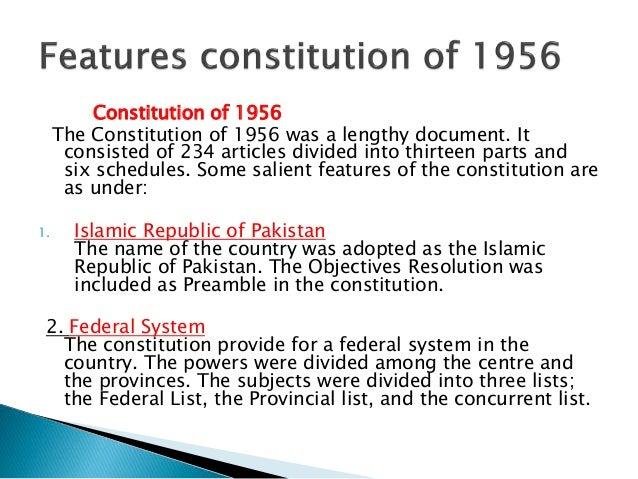 salient features of 1956 constitution of pakistan