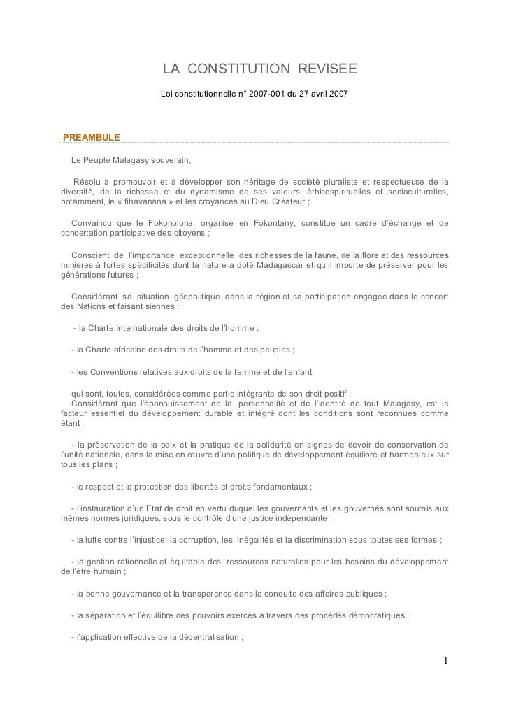 LA CONSTITUTION REVISEE                           Loi constitutionnelle n° 2007-001 du 27 avril 2007PREAMBULE  Le Peuple M...