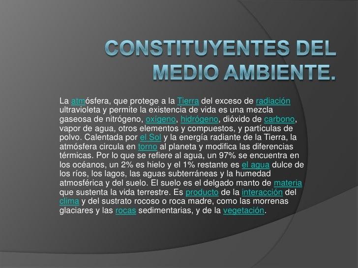 CONSTITUYENTES DEL MEDIO AMBIENTE.<br />Laatmósfera,queprotege a la Tierra del exceso de radiación ultravioleta y permi...