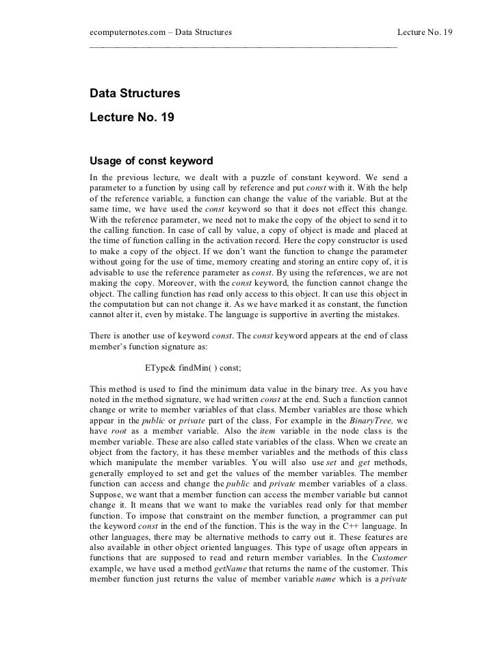 ecomputernotes.com Data Structures                                  Lecture No. 19________________________________________...