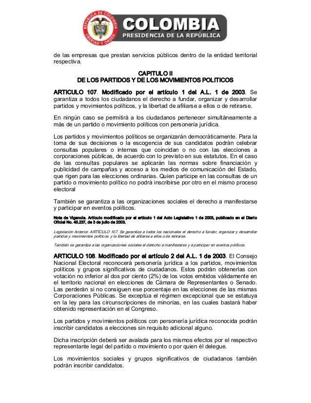 Constituci n nacional de colombia actualizada a 2013 - Fundar un partido politico ...