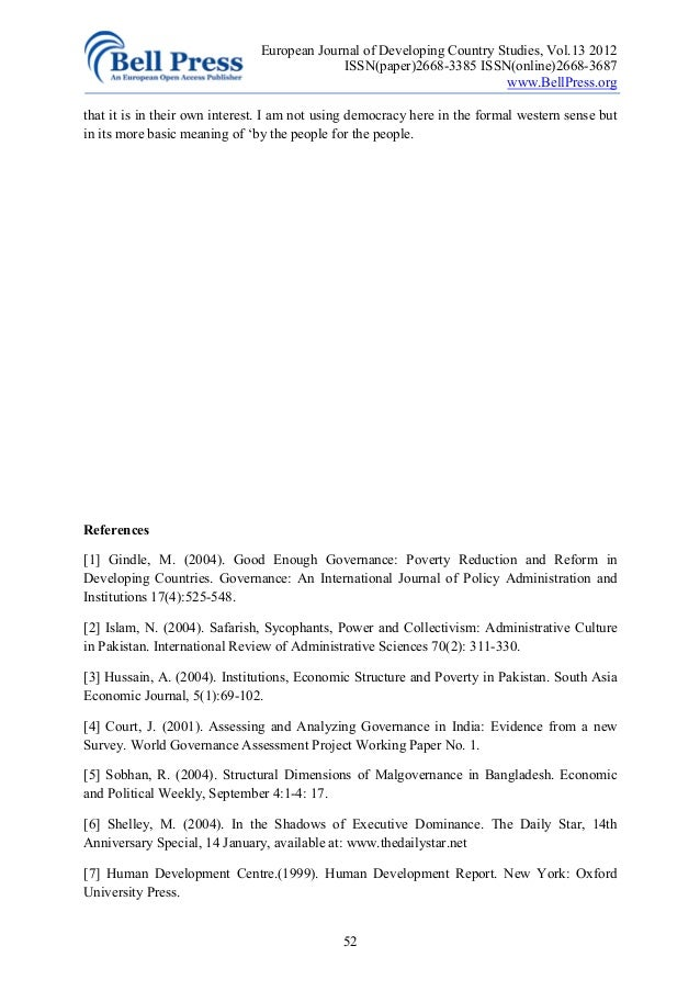 Governance in issue paper thesis