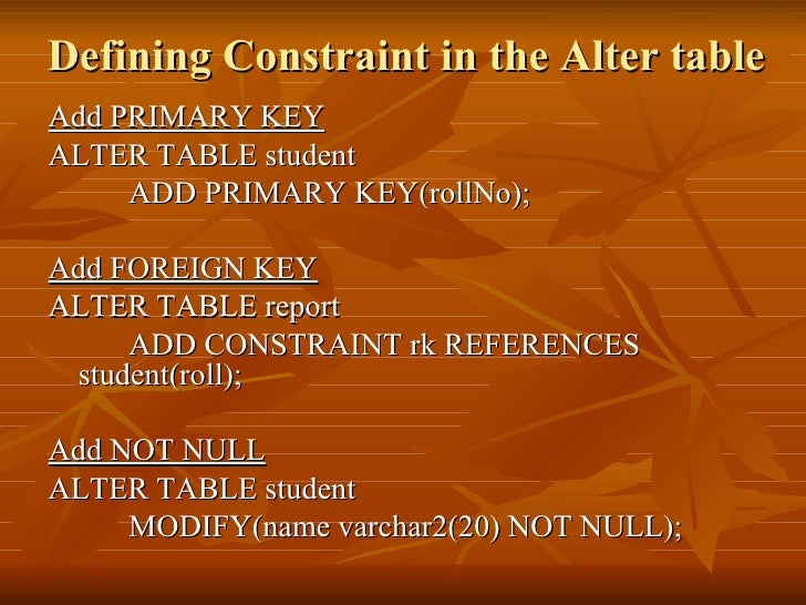 Constraints in sql - Alter table add constraint primary key ...