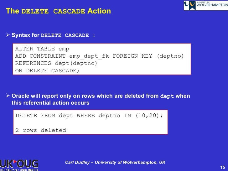 Oracle delete cascade constraint