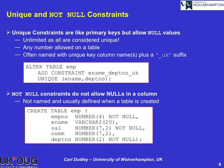 Managing declarative constraints - Alter table add constraint primary key ...