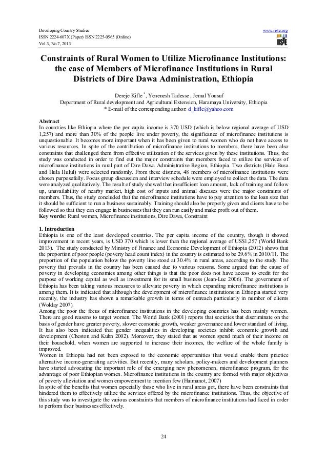 Developing Country Studies www.iiste.org ISSN 2224-607X (Paper) ISSN 2225-0565 (Online) Vol.3, No.7, 2013 24 Constraints o...