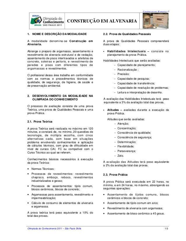 Construcao em Alvenaria v5  CONSTRUÇÃO EM ALVENARIA 1. NOME E DESCRIÇÃO DA MODALIDADE  2.2. Prova de Qualidades Pessoais  ...