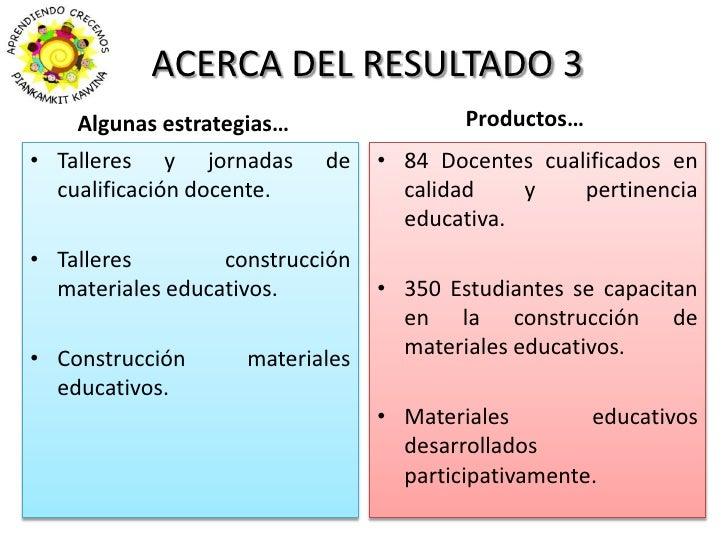 ACERCA DEL RESULTADO 3<br />Productos…<br />Algunas estrategias…<br />Talleres y jornadas de cualificación docente.<br />T...