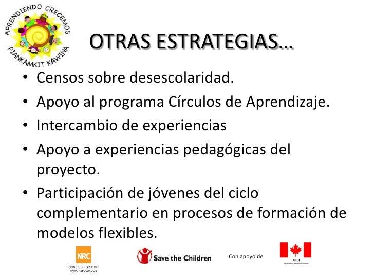 OTRAS ESTRATEGIAS…<br />Con apoyo de <br />Censos sobre desescolaridad.<br />Apoyo al programa Círculos de Aprendizaje.<br...