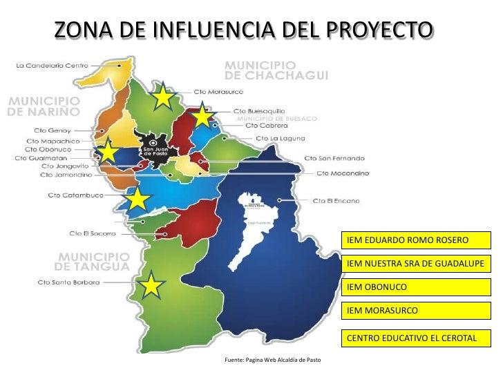 ZONA DE INFLUENCIA DEL PROYECTO<br />IEM EDUARDO ROMO ROSERO<br />IEM NUESTRA SRA DE GUADALUPE<br />IEM OBONUCO<br />IEM M...