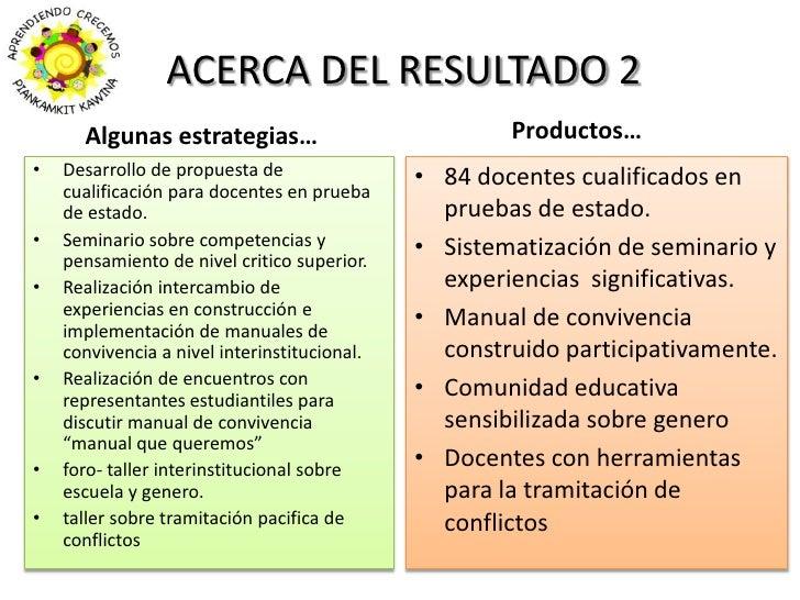 ACERCA DEL RESULTADO 2<br />Productos…<br />Algunas estrategias…<br />Desarrollo de propuesta de cualificación para docent...