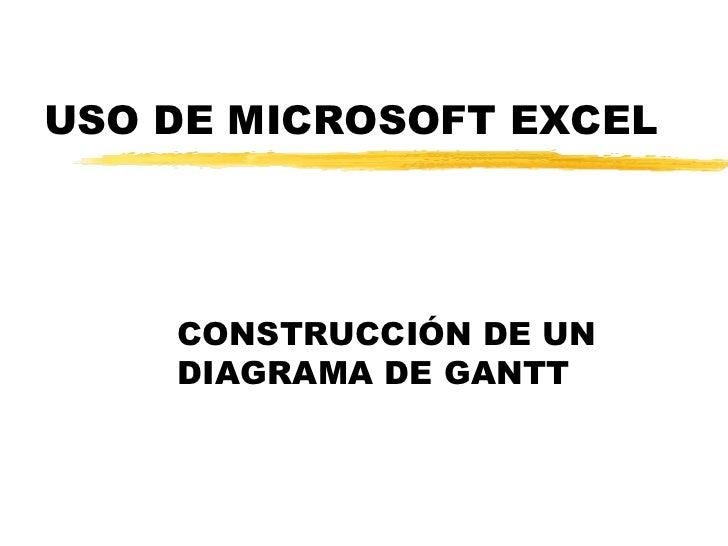 USO DE MICROSOFT EXCEL CONSTRUCCIÓN DE UN DIAGRAMA DE GANTT