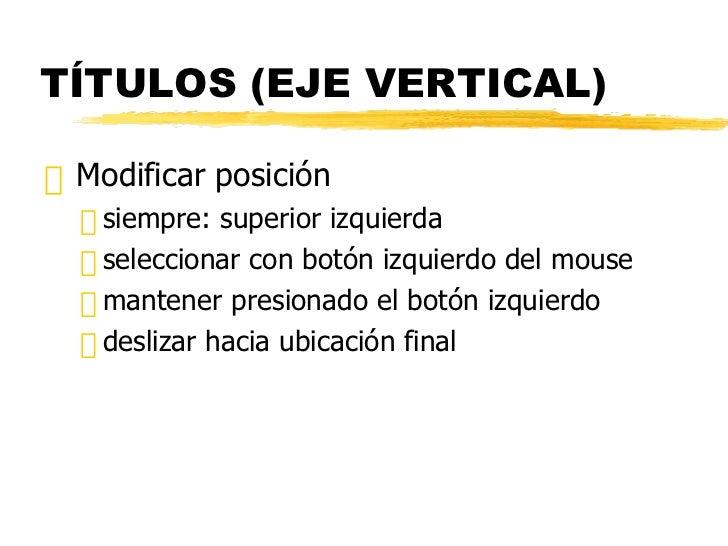TÍTULOS (EJE VERTICAL) <ul><li>Modificar posición </li></ul><ul><ul><li>siempre: superior izquierda </li></ul></ul><ul><ul...
