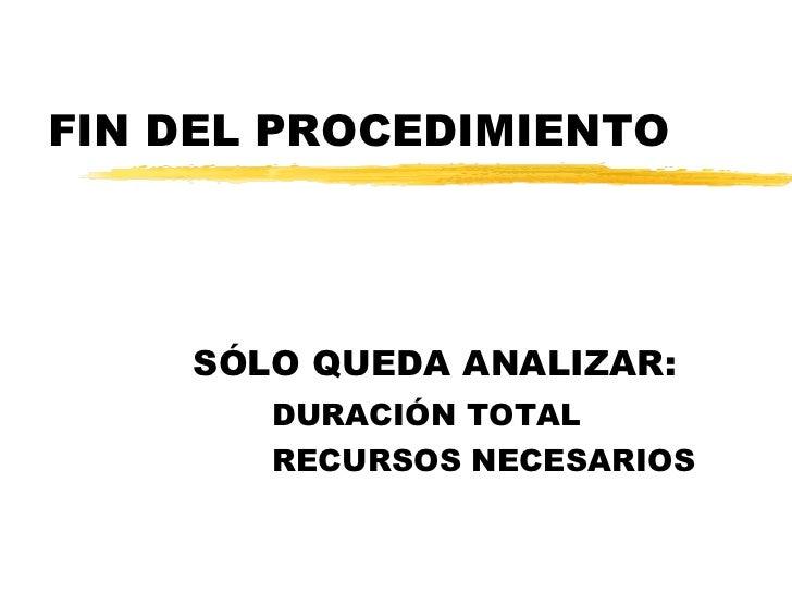 FIN DEL PROCEDIMIENTO SÓLO QUEDA ANALIZAR: DURACIÓN TOTAL RECURSOS NECESARIOS