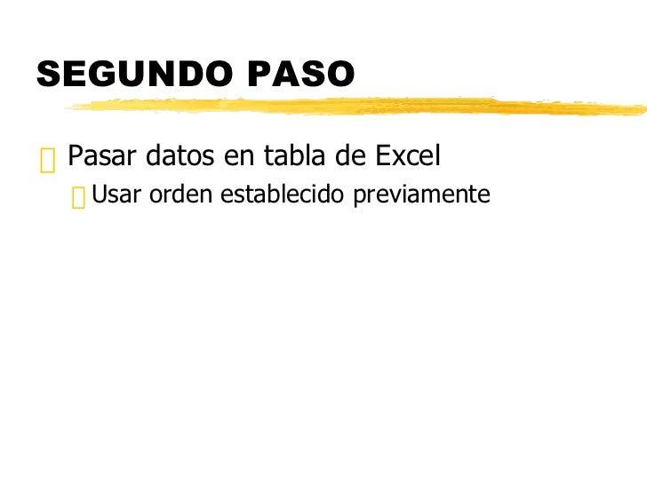 SEGUNDO PASO <ul><li>Pasar datos en tabla de Excel </li></ul><ul><ul><li>Usar orden establecido previamente </li></ul></ul>