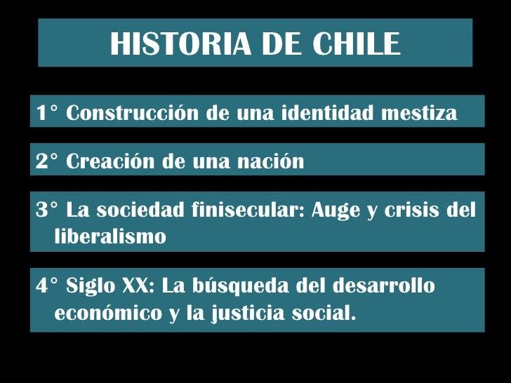 HISTORIA DE CHILE 1° Construcción de una identidad mestiza 2° Creación de una nación 3° La sociedad finisecular: Auge y cr...