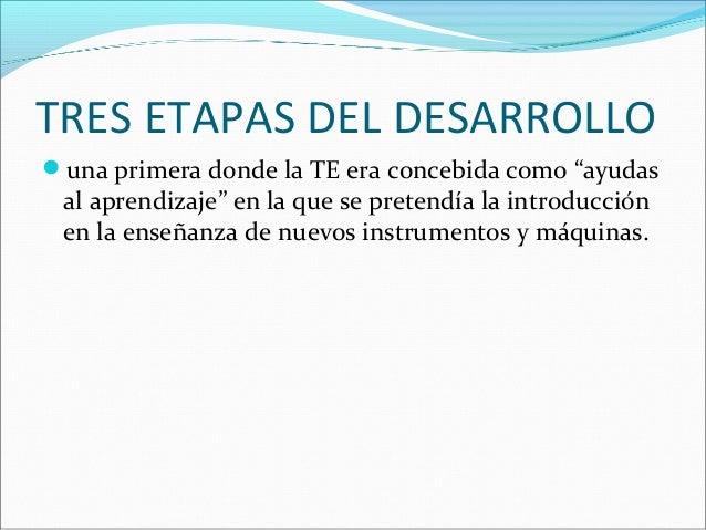 """TRES ETAPAS DEL DESARROLLO una primera donde la TE era concebida como """"ayudas al aprendizaje"""" en la que se pretendía la i..."""