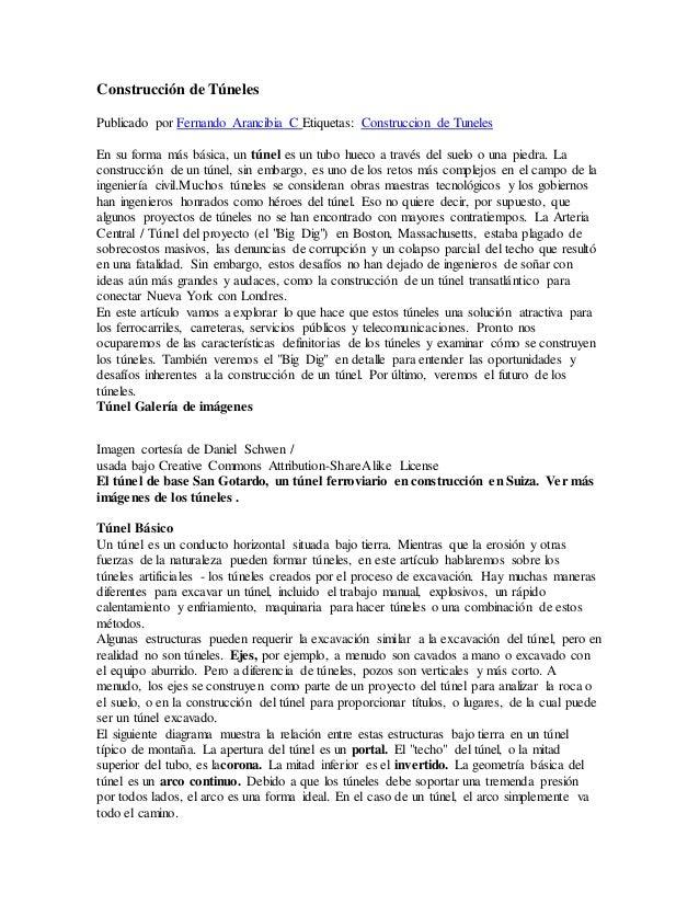 Construcción de Túneles  Publicado por Fernando Arancibia C Etiquetas: Construccion de Tuneles  En su forma más básica, un...