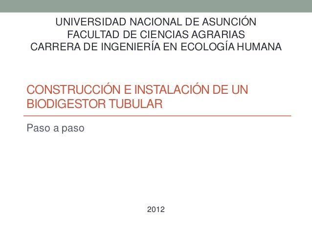 UNIVERSIDAD NACIONAL DE ASUNCIÓN  FACULTAD DE CIENCIAS AGRARIAS  CARRERA DE INGENIERÍA EN ECOLOGÍA HUMANA  CONSTRUCCIÓN E ...