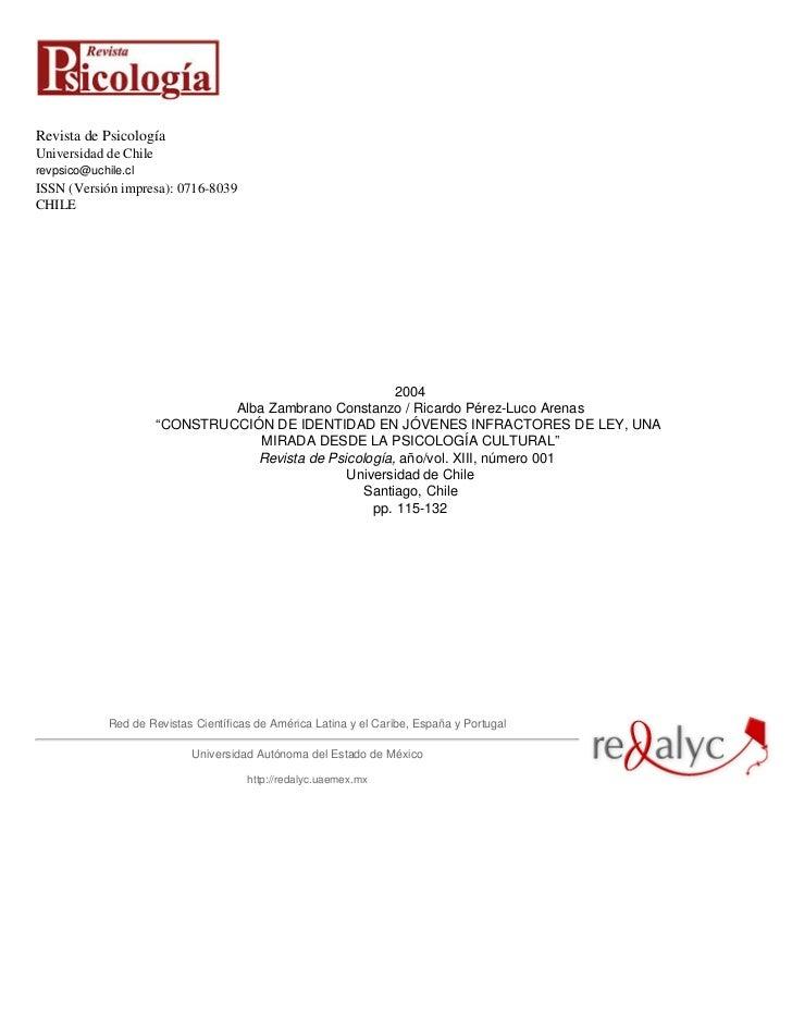 Revista de PsicologíaUniversidad de Chilerevpsico@uchile.clISSN (Versión impresa): 0716-8039CHILE                         ...