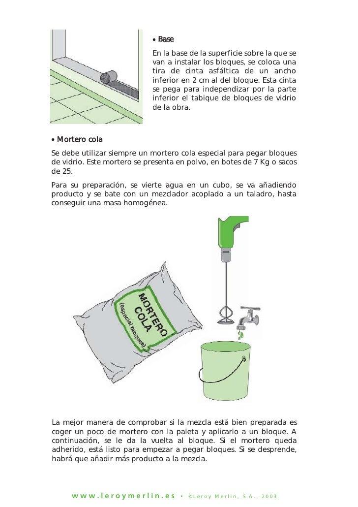 Construccion de tabiques con ladrillos de vidrio 2 for Mortero para ladrillos