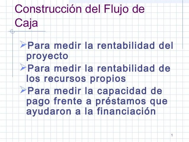 1 Construcción del Flujo de Caja Para medir la rentabilidad del proyecto Para medir la rentabilidad de los recursos prop...