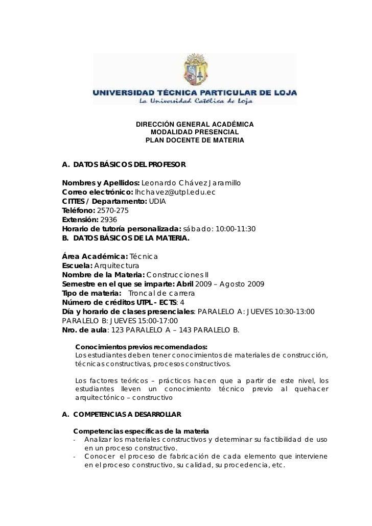 DIRECCIÓN GENERAL ACADÉMICA                          MODALIDAD PRESENCIAL                         PLAN DOCENTE DE MATERIA ...