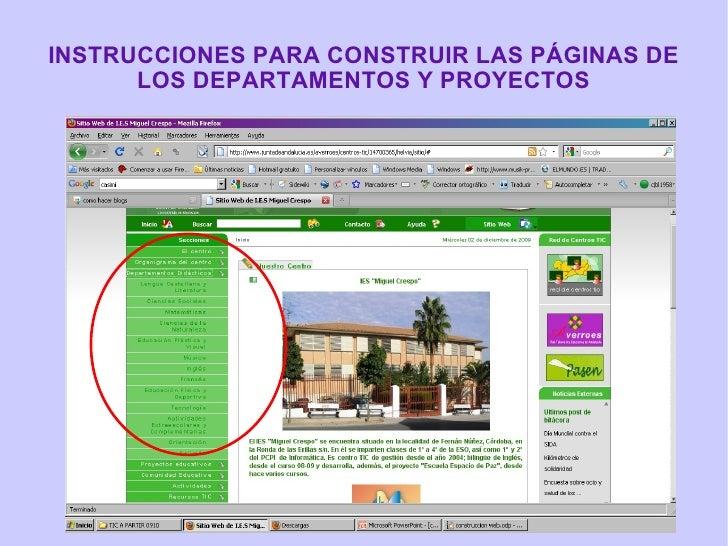 INSTRUCCIONES PARA CONSTRUIR LAS PÁGINAS DE LOS DEPARTAMENTOS Y PROYECTOS