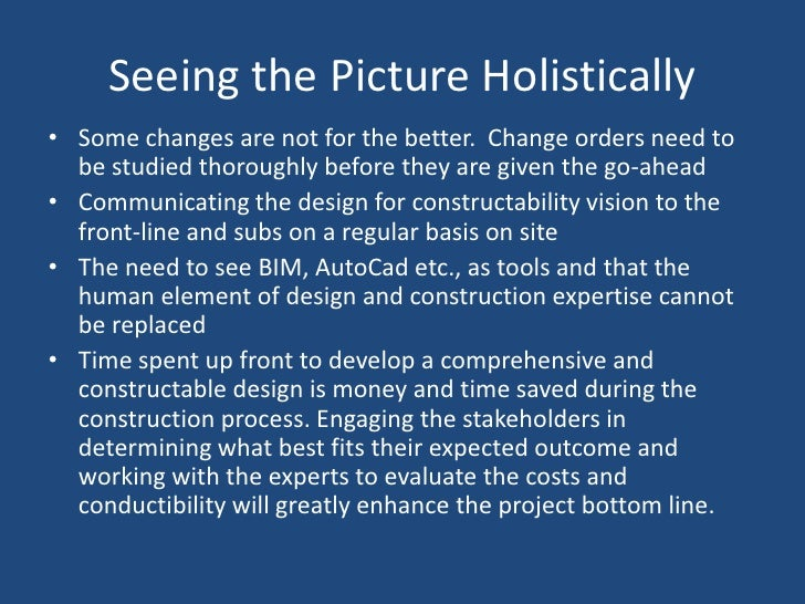 Constructability in construction.