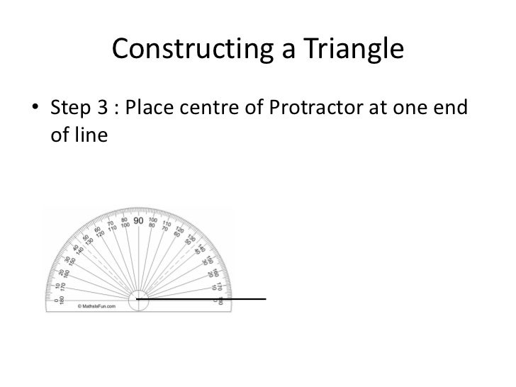 Constructing an angle or triangle using a protractor