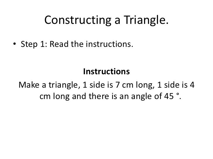 Constructing an angle or triangle using a protractor – Constructing Triangles Worksheet