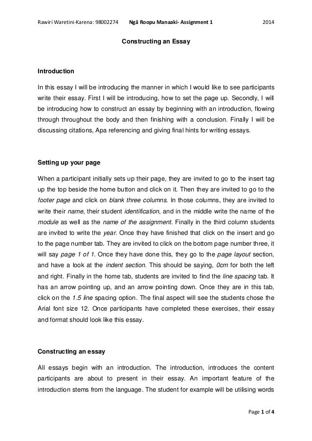 constructing an essay Because essays are essentially linear—they offer one essay structure although there are guidelines for constructing certain classic essay.