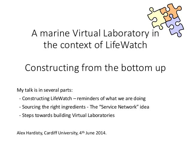 A marine Virtual Laboratory in the context of LifeWatch Constructing from the bottom up My talk is in several parts: - Con...
