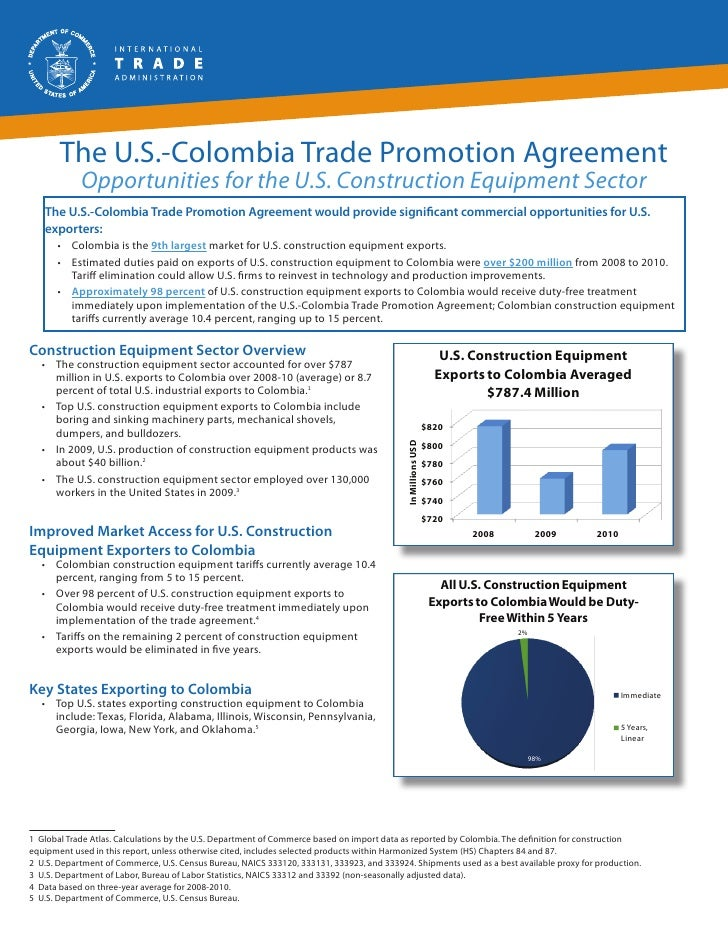 The U.S.-Colombia Trade Promotion Agreement            Opportunities for the U.S. Construction Equipment Sector   The U.S....