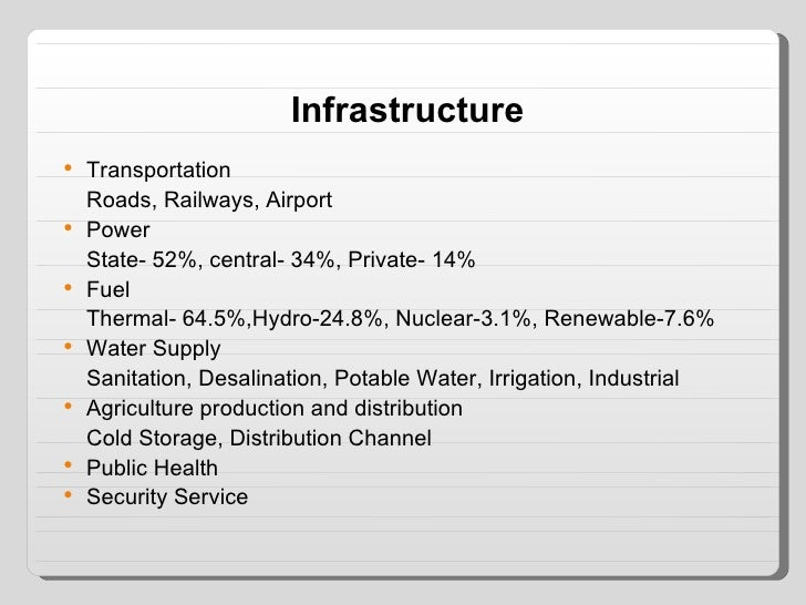 Infrastructure <ul><li>Transportation </li></ul><ul><li>Roads, Railways, Airport </li></ul><ul><li>Power </li></ul><ul><li...