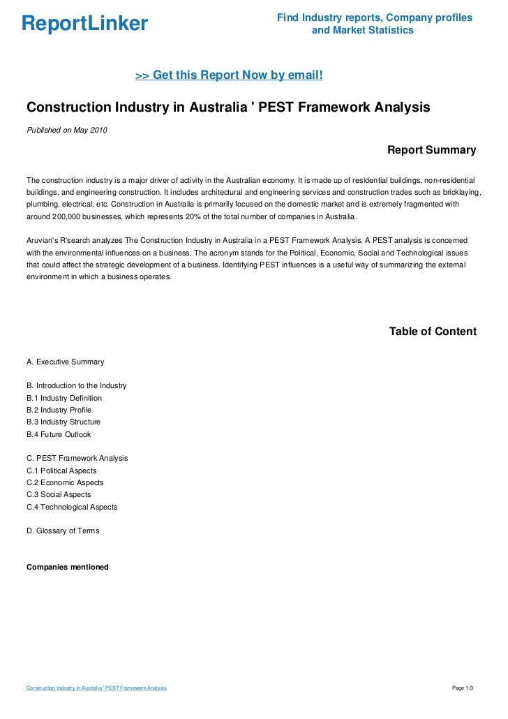 Pest analysis for the construction industry